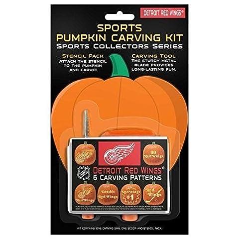 Detroit Red Wings Pumpkin Carving Kit 6Mustern NHL Halloween Dekoration