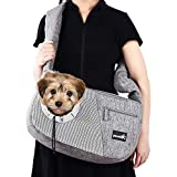 Pecute Pet Sling Carrier for 15 Kg Doggie Cat Hand Free Sling Carrying Bag-Dog Papoose Carrier with Adjustable Padded Shoulder Strap, Safety Belt, Multi Pockets - Great for Outdoor Travel Walk Subway