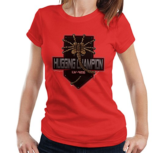 Hugging Champion Aliens Women's T-Shirt Red