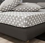 F2F Stars Sterne Spannlaken Bettlaken Spannbetttuch I Größe 160x200 cm I Farbe Beige I Baumwolle glatt