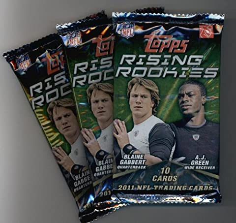 (3) 2011 Topps Rising Rookies Football Cards Unopened Packs (10 cards per pack)- Randomly Inserted Autographs & Jersey Cards - Cam Newton Rookie
