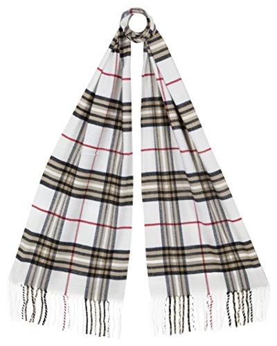 RW Fashion, Uomo / sciarpa delle donne, classico Cashmere & viscosa, - checkered- SK021 (Bianco)