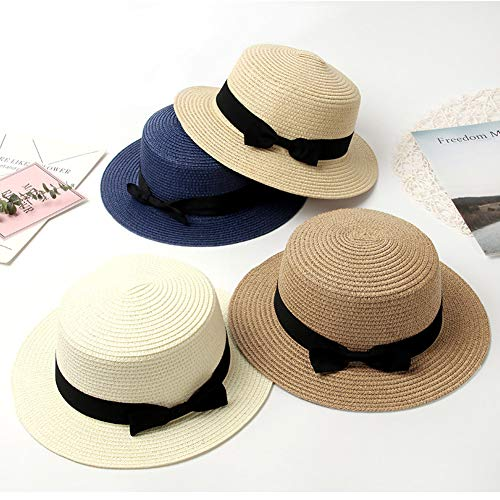 NZNNXN Frauen-Sommer-Hut-Strand-Strohhut-Panama-Damen-Kappen-Moderne handgemachte beiläufige Flache Rand-Bowknot-Sonnenhüte - 50 Spf Hat