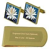 Select Gifts Flor de Loto de Tono Oro Gemelos Money Clip Grabado Set de Regalo
