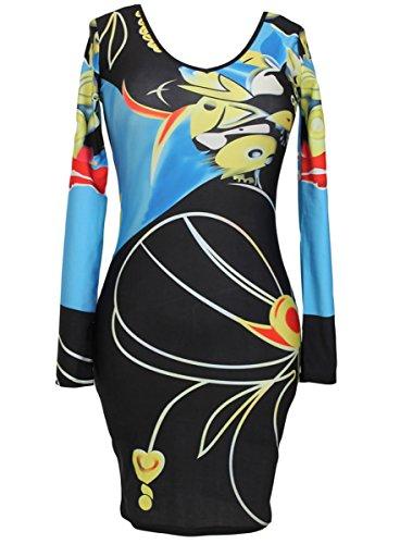 Dissa® FOB21904 femme moulante Robe de soirée Multicolore