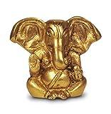 Ganesha Statue zweiarmig sitzend, Figur aus Messing Höhe 6,5 cm, Hindu Gott Indien Asien Elefantengott Baby Ganesha