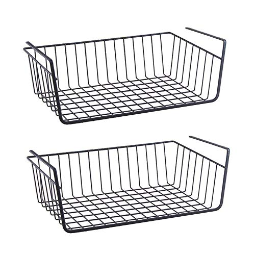 TIED RIBBONS Undershelf Rack Basket Organizer for Cupboard Almirah Cup Kitchen Holder (Large Size,Pack of 2)