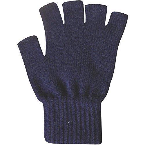 Blau-arbeits-handschuhe (Damen Thermo-Handschuhe ohne Finger super weich warm fein gestrickt - Einheitsgröße, Marineblau)