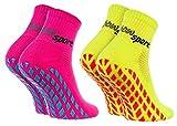 Rainbow Socks - Femme Homme Chaussettes Antidérapantes de Sport - 2 paires - Jaune Rose - Taille UE 36-38