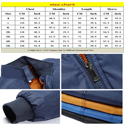 Zhhlaixing Klassisch Winter Mens Warm Stand Collar Jackets Outerwear Thicken Plus Velvet Coats Yellow