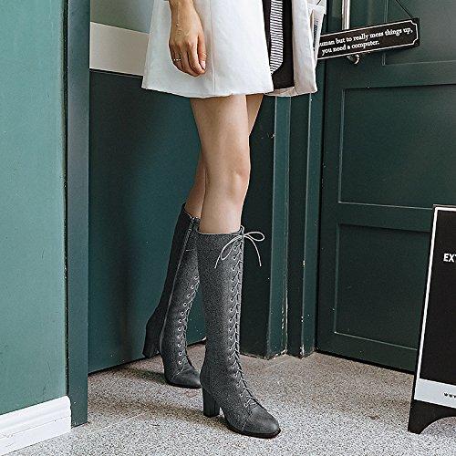 WIKAI Donna stivali stivali da cavallo moda Stivali Stivali moto Autunno Inverno similpelle Casual Party & Sera Lace-up Chunky Heel grigio nero,grigio, noi12.5 / EU45 / UK10.5 / CN47 Gray
