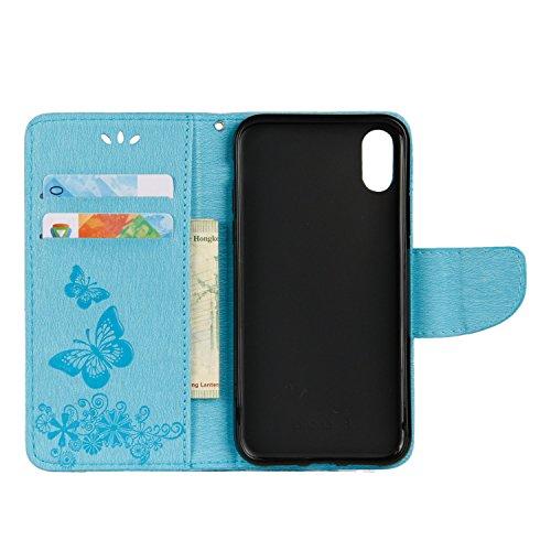 Cover per iPhone X Custodia, ZCRO Portafoglio Cover in Cuoio PU Pelle Stand Protettiva Flip Case a Libro Farfalle Fiori Modello con Magnetica Strap e Penna Stilo Copertina Custodia per iPhone X 5.8 Po Design 2 Blu