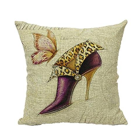 Loulanjx carré Couvre-lit décoratif Taie d'oreiller Housse de coussin Papillon Chaussures à talons hauts Coton et lin Mode Taie d'oreiller/taie d'oreiller 45,7x 45,7cm four Seasons général, Coton, JV6-C, 45 cm x 45 cm