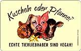 Original RAHMENLOS® Schneidbrettchen: Kuscheln oder Pfanne, echte Tieliebhaber sind vegan
