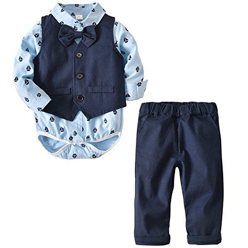 Echinodon Baby Hemdbody mit Fliege + Weste + Hose/Bekleidungsset Junge Kleinkinder Gentleman Anzug Baumwolle Set Babyanzug Blau -
