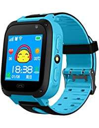Reloj inteligente con podómetro y pantalla táctil, impermeable, con rastreador GPS, cámara y SIM anti-pérdida, para regalo de cumpleaños de los niños., azul