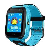 Wasserdicht Touchscreen GPS Tracker SMART Handy Uhr mit Schrittzähler Kamera sim Antiverlust SOS Armband Smartwatch für Kinder Geburtstag Geschenke, blau