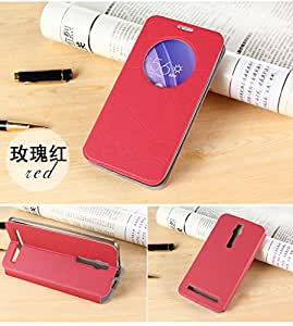 Defender Smart Leather Sensor Quick Window Flip Cover Case with Back Stand for India Asus Zenfone 2 5.5 inch ZE550ML / ZE551ML - Pink