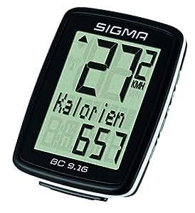 Sigma Sport Fahrrad Computer BC 9.16, 9 Funktionen, Maximalgeschwindigkeit, Kabelgebundener Fahrradtacho, Schwarz