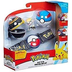 Character Optiions Pokémon Clip 'N' Go Poké Ball Belt Set - Noir / Bleu