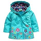 cooshional Kinder Regenmantel Regenjacke mit Kapuze für Kinder Schüler Jungen Mädchen Wasserdichte Regenkleidung Raincoat Regencape Blau 90