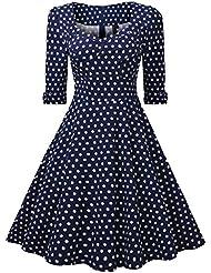 Miusol® Damen Elegant Cocktailkleid 50er Jahre Polka Dots Rockabilly Party Abendkleid Stretch Retro Kleid Blau Gr.S-XXL