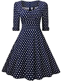 Miusol® Damen Elegant Cocktailkleid Retro 50er Jahre Kleid Polka Dots Party Rockabilly Abendkleid Blau Gr.S-XXL
