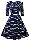 Miusol Elegant 50er Jahre Retro Polka Dots Rockabilly Cocktailkleid Party Stretch Kleid Blau Gr.M