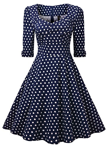 Miusol Elegant 50er Jahre Retro Polka Dots?Rockabilly Cocktailkleid Party Stretch Kleid Blau Gr.3XL