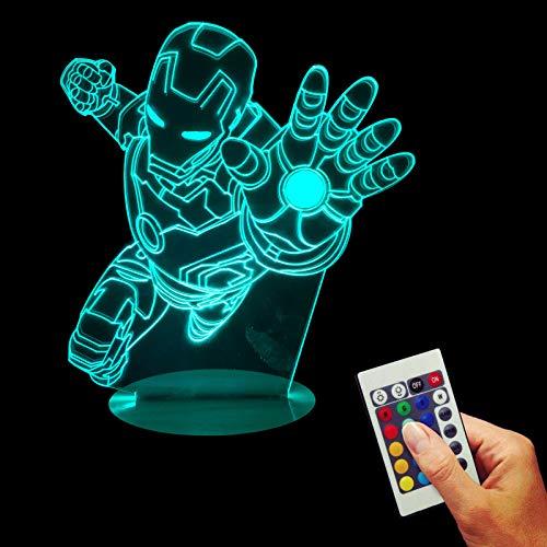 (3D Optical Illusion Lampe LED Nachtlichter Rächer Iron Man, Fernbedienung Tischlampe Haus Dekoration 16 Farben Einzigartige Lichteffekte USB Kabel Zum Kinder Geschenk)