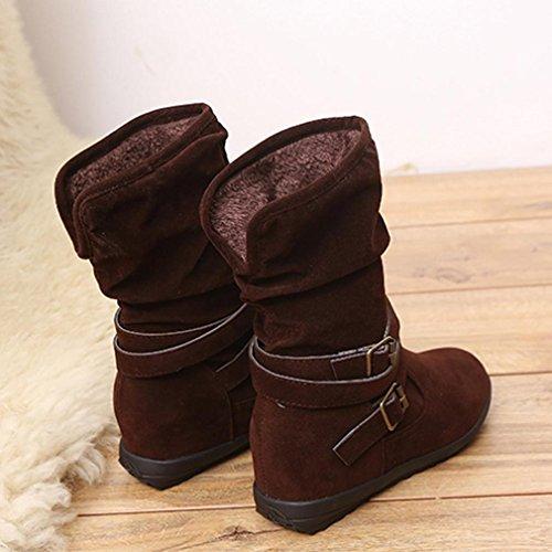 Women's Boots Shoes, SOMESUN Delle donne delle signore di bassa Wedge Buckle Biker caviglia Trim Stivaletti Ballerine Brown