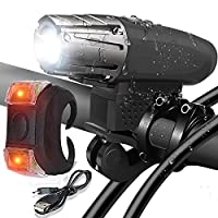 Bike Light,USB Rechargeable Bike Light Set Bicycle Headlight Free Tail Light, LED Front and Back Rear Lights for Mountain Bike and Road Bike Cycling Safety