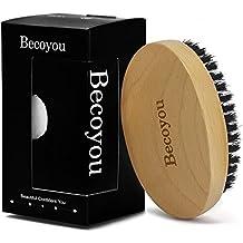 Becoyou Brosse à Barbe, Brosse en poil Premium Poils de Sanglier et Bois Naturel pour Coiffage et Entretien Inclus une pochette de rangement en coton