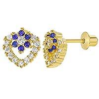 18k Gold Plated Crystal Clear Heart Blue Flower Screw Back Girl Earrings
