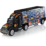 Toy Truck Transport Car Carrier - Toy Truck Includes 6 Toy Cars And Accessories - Toy Trucks Fits 28 Toy Car Slots - Great Car Toys Gift For Boys And Girls - Original - By Play22