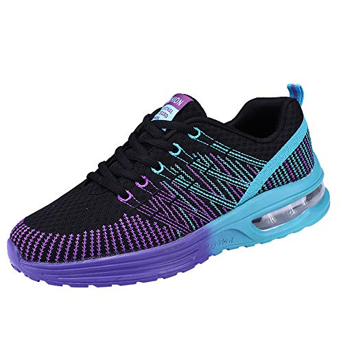 JiaMeng Hombre Zapatillas de Senderismo Deportivas Aire Libre y Deportes Casuales de Malla Zapatillas para Correr con Fondo Suave Zapatillas de Deporte(Púrpura,EU45=CN46)