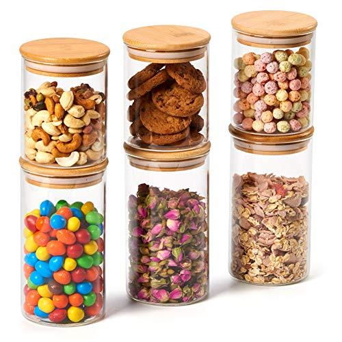 Ezoware set di 6 barattoli di vetro, contenitori per la conservazione degli alimenti con coperchio di legno bambù ermetico per tè caffè farina cereali fagioli, vetro borosilicato - 450ml / 700ml