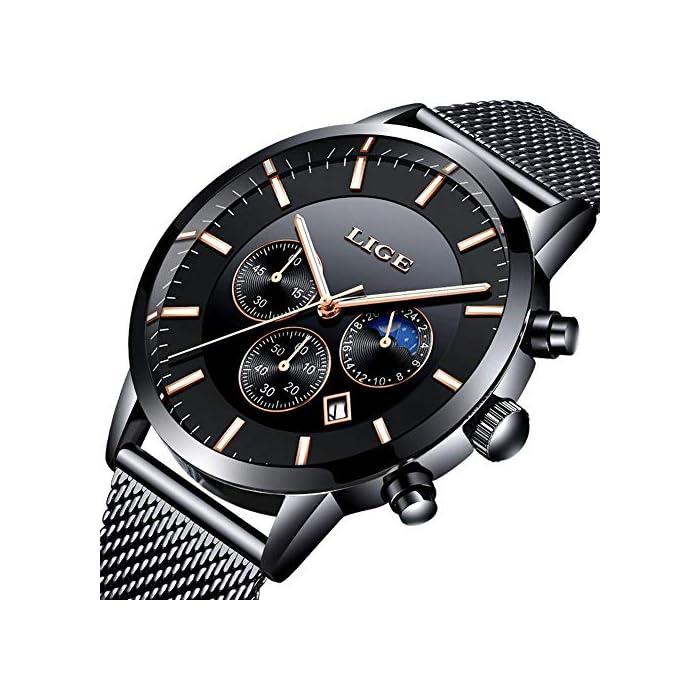 LIGE Uhr-Herren,Mode Chronographen,Edelstahl Wasserdich, Schwarze Quartz Milanaise Mesh Armband 1