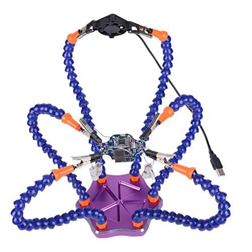 Preisvergleich Produktbild Lötstation mit helfenden Händen, 6 flexible Arme mit Basis aus Aluminium, USB-Ventilator, für Lötarbeiten, Elektronik, Montage, Reparatur, Modellierung, Hobby, Basteln