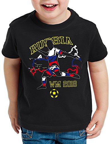 style3 WM 2018 Russland Kinder T-Shirt Fußball Weltmeisterschaft Trikot Russia, Farbe:Schwarz, Größe:128
