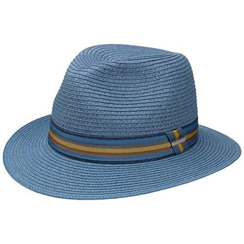 Stetson Monticello Toyo Traveller Hut | Sonnenhut Herren | Sommerhut aus Papierstroh (Viskose) | Strohhut mit UV-Schutz (+40) | Herrenhut Frühjahr/Sommer | Travellerhut blau M (56-57 cm)