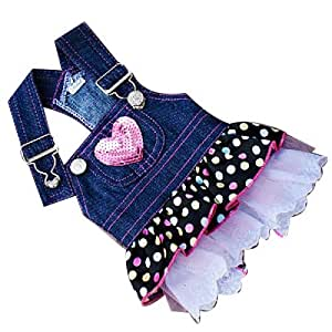 CupeBaby Dog Denim Dress Pink Sequin Heart Pocket (XL)