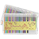 officematters 96 Set de Bolígrafos de Gel con Caja, 50% Tinta Más para Libros de colorear para adultos - 2 Paquetes de 48 bolígrafos(Brillo, Neón, Pastel, Metálico)