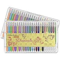 officematters 96set di penne Gel con custodia, 50% in più di inchiostro per adulti Libri da Colorare–2confezioni da 48penne ogni (Glitter, Neon, pastello, metallico)