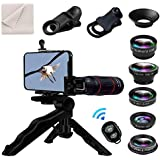 8 in 1 Universal Phone Camera Lens Kit Clip-on Smartphone 18X Telephoto Lens,Wide Angle Lens, Macro Lens, Fisheye Lens, CPL Lens, Phone Tripod, Remote Shutter for iPhone Samsung & Most Smartphone