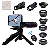 8 in 1 Universal Phone Camera Lens Kit Clip-on Smartphone 18X Telephoto Lens,Wide