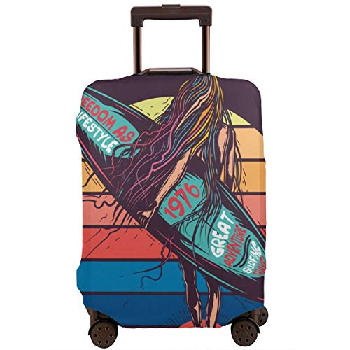 Travel Suitcase Protector,Original Vector Illustration In Retro Neon Style Girl Going to The Sea with Surfing In Hand,Suitcase Cover Washable Luggage Cover XL