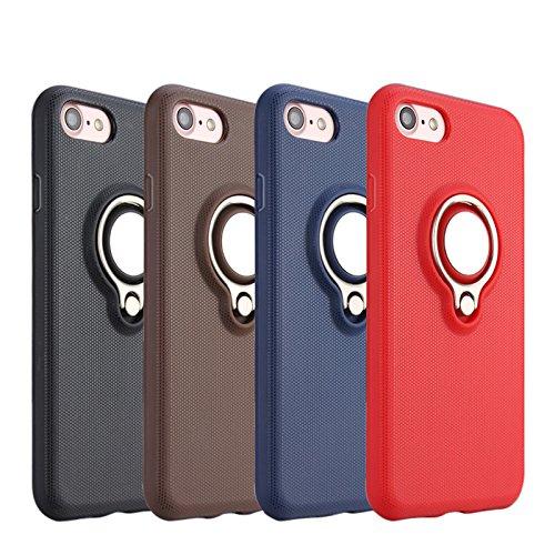 Riffue® Custodia iPhone 6 plus, Cover per iPhone 6 plus Protettiva con Sottile Rigida Dura PC Mteriale Antiurto Anti-Graffio Resistente alle Impronte Digitali con Anello de Sopporto e Carrello Magneti Rosso