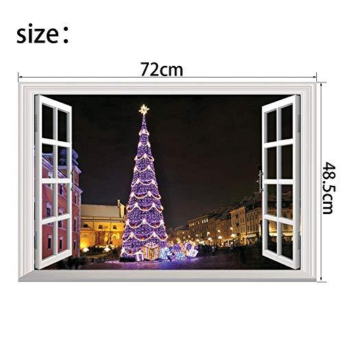 HhGold Die Trendige Weihnachtsbäume Weihnachten Windows 3D Wand Stereoanlage Mount Weihnachten Dekoration Wall Sticker Poster 72 * 48,5 cm