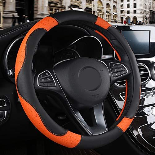 NPNPNP Autolenkradabdeckung 1 Pc Pu Leder Auto Lenkrad Abdeckung Weiche Anti-rutsch Auto-styling Sport Auto Lenkrad Abdeckungen Gute Atmungsaktive Zubehör orange -